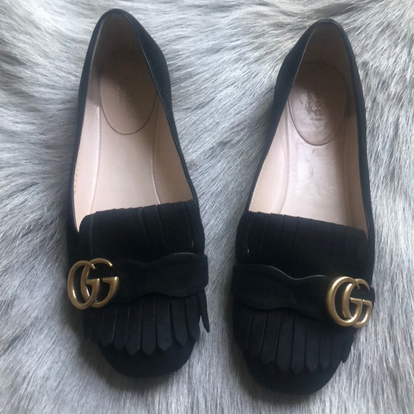 3d47945e80a Gucci Shoes - Gucci Marmont Black Suede Loafers Flats 37
